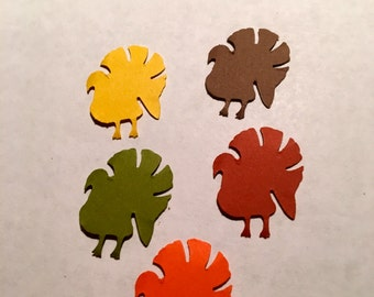 50 TURKEY paper  punches red, yellow,green,orange and brown Hand Punched THANKSGIVING Die Cuts Confetti, embellishments,tags, scrap booking.