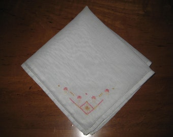 white hankie,embroidery flowers