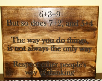 Custom plaque - Respect other ways of thinking