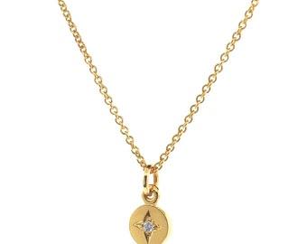 Yellow Gold Small Diamond 'Eclipse' Pendant, dainty diamond necklace