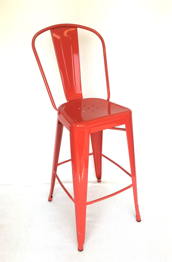 "Reserved for Elizabeth Custom Tolix Style High Back Chair Bar Stool in 30"" Seat Height Custom Painted in the Color of Your Choice"