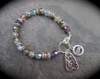 Diabetes Medical Alert Bracelet with sparkly Multi color Czech glass beads and Diabetic charm and Strength charm  Diabetes Bracelet