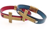 Brass Cross Leather Bracelet. Choose Bracelet Color. Magnetic Clasp Premium Leather Bracelet.