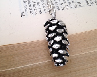 Silver Pinecone Necklace.  Long Pinecone Necklace.