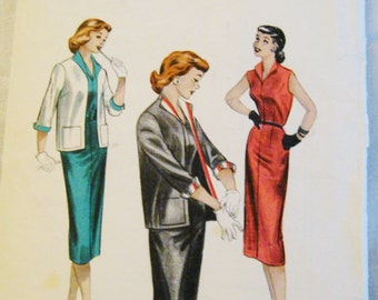 Vintage Sewing Pattern, Dress and Jacket, 50s Fitted Sheath, size 14 Bust 32, Butterick 6821, Mad Men Dress Pattern