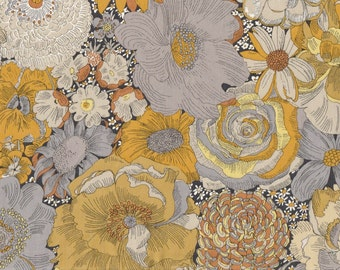 Fat eighth English Field A, mustard and grey large scale floral Liberty of London cotton tana lawn