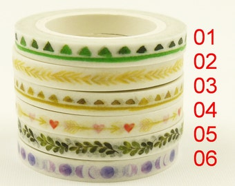 Love to Hide - Japanese Washi Masking Tape - 5mm wide - 7.6 yards - 1 roll