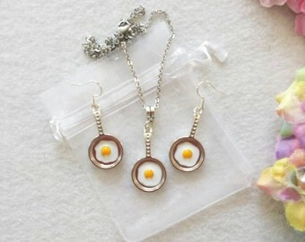 Frying Pan with Eggs Set of Necklace and Earrings