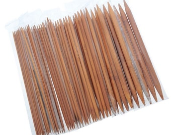 """75 pcs 15 sizes 7.9"""" 20cm 2.0-10mm Double Pointed Carbonized Bamboo Knitting Needles - Aiguilles à tricot"""