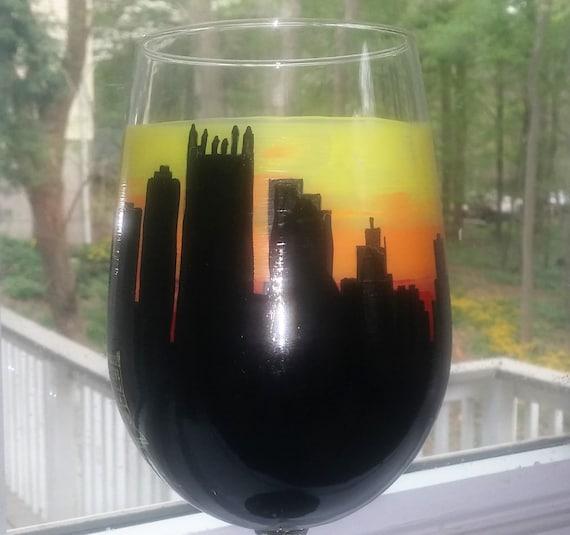 Pittsburg City Skyline hand painted wine glass