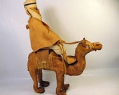 "Vintage LEATHER CAMEL and Rider Figure - Arab Man in Turban - Handmade Crafted - 9.5"" Tall - Nicely Done"
