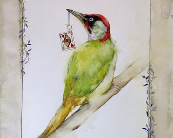 Card with Green Woodpecker