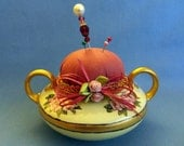 "Handmade Pincushion - Beautiful Handpainted Vintage ""Limoges"" Sugarbowl base, rose colored cushion, gold trim, bow and silk roses"
