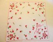 """VINTAGE """"Mother"""" Hankie 1950s - Creamy/white 13"""" square Cotton, printed pattern, pink Carnations in corners, """"Mother"""" on card in one corner"""