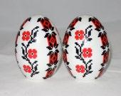 Egg Shaped Salt and Pepper Ukrainian Folk Art Porcelain Shakers