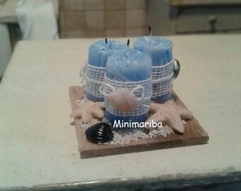 Miniature dollhouse sea shabby style candles