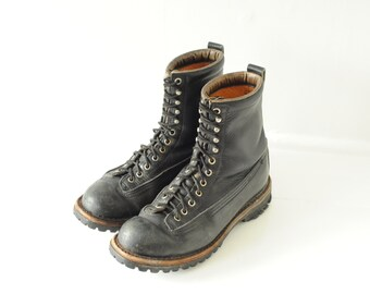 Vintage Black Leather Lace Up Combat Boots Mens 8