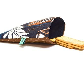Reusable Sandwich Bag - Reusable Snack Bag - Hawaiian Print Black and Brown