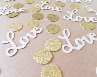 LOVE Confetti ~ Wedding / Valentines Day ~ Romantic Table Scatter ~ 100 Gold & White ~ Invitation Confetti ~ Bachelorette Party