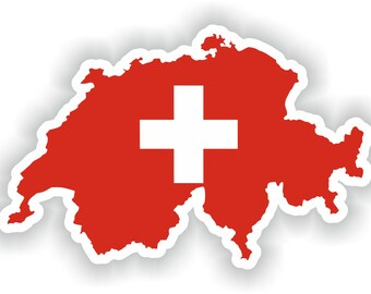 Switzerland Map Flag Silhouette Sticker for Laptop Book Fridge Guitar Motorcycle Helmet ToolBox Door PC Boat