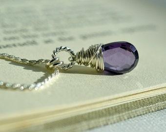 Purple Gemstone Necklace, Natural Zircon Necklace, Purple Zircon Necklace, Sterling Wire Wrapped, Deep Purple Necklace, December Birthday
