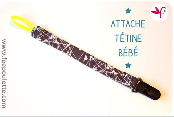 Attache t tine sucette b b en tissu imprim jonaz by bypoulette - Attache tetine tissu ...