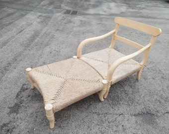 UP ON The RUCHED / Oversized Solid Wood And Rush Provincial Armchair And Ottoman / Chaise / French Decor