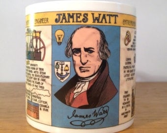 Illustrated ceramic mug - James Watt timeline design (University of Glasgow)
