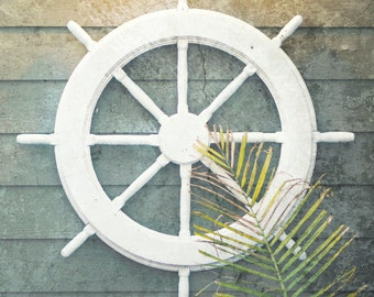 Nautical Wall Decor ship wheel print nautical art navy decor coastal wall art
