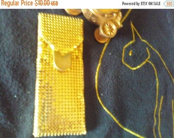 Now On Sale Vintage 1940's 1950's Gold Metal Mesh Comb Holder Purse Accessories Mid Century Rockabilly