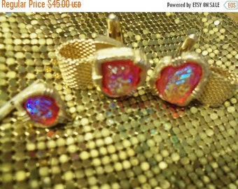 NOW ON SALE Beautiful Red Cuff Links & Matching Tie Bar 1950's 1960's Mad Men Mod Mid Century Retro Rockabilly Jewelry Accessories
