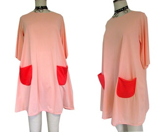 Salmon Peachy Pocket Baggy 60's Mod Color Block Dress