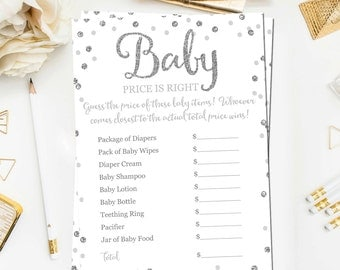 Baby Price Is Right Printable Game, Baby Shower Game Printable, Silver Glitter Baby Shower Games, Price Is Right Game Instant Download BB2
