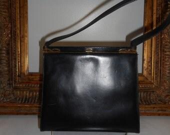 Vintage 1960's Coblentz Black Leather Handbag