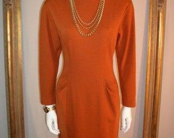 30% OFF SUMMER SALE - - Vintage Albert Nipon Burnt Orange Wool Dress - Size 6
