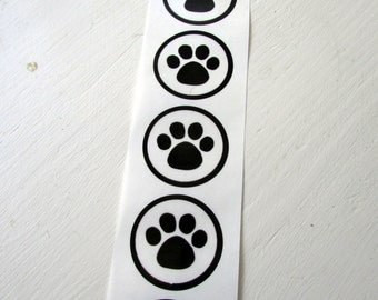 10 Paw Print on Clear Stickers