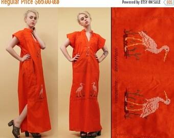 24HR FLASH SALE 70s Vtg Red Orange Cotton Gauze Floor Length Kaftan Maxi Dress / Embroidered Stork Bird Motif / Boho Hippie Sm Med