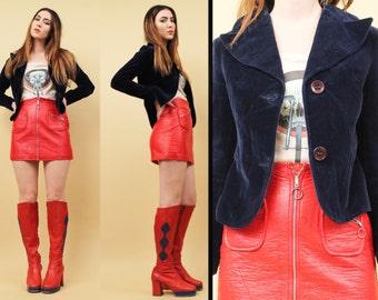 60s 70s Vtg Navy Blue Cotton VELVET Pointy Collar Blazer Jacket / BIBA Style Fitted Glam Hippie Rocker Double Button Coat / Xxs Xs