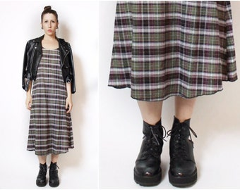 Grunge Olive Burgundy Mid Length Flannel Dress Cami Made to Order
