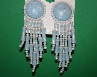 Large Vintage 70's Post Earrings in pink or blue - Country western feel