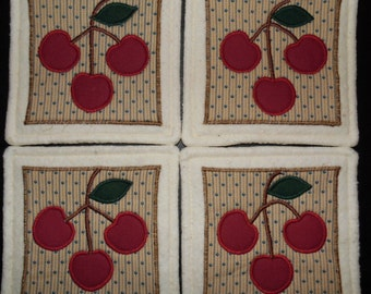 Primitive Whimsical Country CHERRY CHERRIES Coasters Mug Mats Hot Pads Trivets