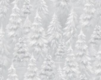 WOODLAND WONDER-by the Yard by QT fabrics-grey silver white snowy pine trees-Christmas~24526-k