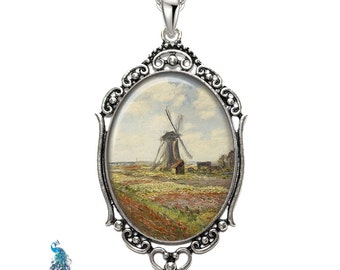Monet Tulip Fields With The Rijinsburg Windmill Oval Filigree Pendant Necklace Art Pendant Photo Pendant Graphic Pendant
