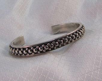 Native American Elgin Tom Sterling Bangle Bracelet, Silver Beaded Bracelet