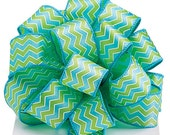 """5yds,7"""" Satin Wired Edge Ribbon 1-1/2"""" Blue Green & White Chevron Pattern DISCOUNTED"""