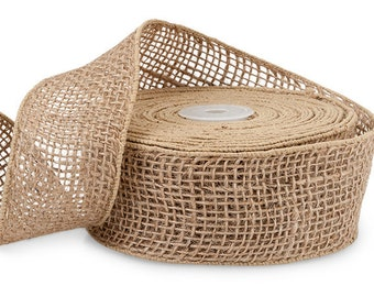 """5yds NATURAL TAN BURLAP 2""""wide Wired Wire Edge Jute Ribbon"""