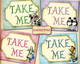 Alice Party Tag, Take Me Alice in Wonderland Tags, labels, perfect for parties, presents and invitations.