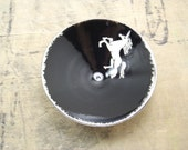 One Unicorn, Black & Silver Porcelain Tiny Bowl,  Jewelry Dish, Ring Dish, Dipping Bowl-Hostess Gift, Goth Gift, Steampunk Gift