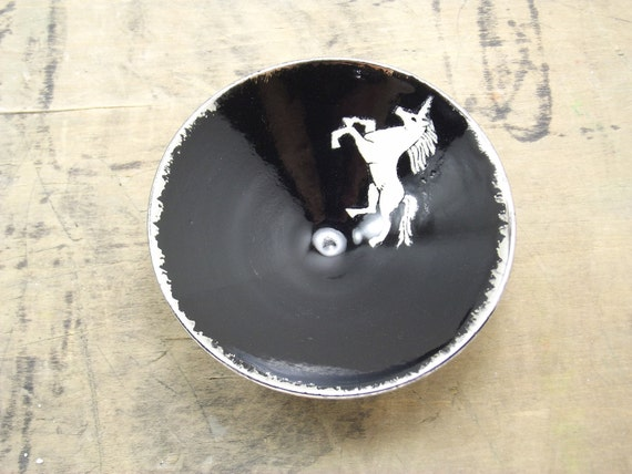 Unicorn, Black & Silver Porcelain Small Bowl, Jewelry Dish, Ring Dish, Dipping Bowl