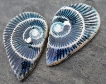 Ammonite Drops- handmade ceramic artisan bead ammonite fossil tribal earring bead pair aqua blue 2069